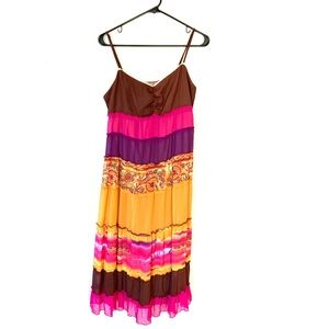 Vintage Robbie Bee Tiered Color Block Hippie Dress